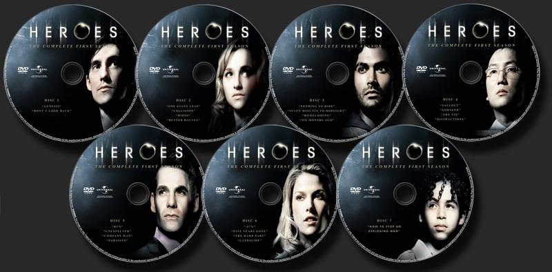 heroes 1 temporada dvd labels